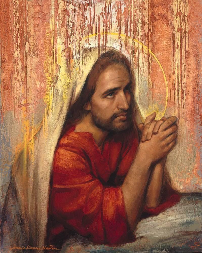 Jesus prayer image. Jesus is kneeling at a stone. A golden halo encircles His head.
