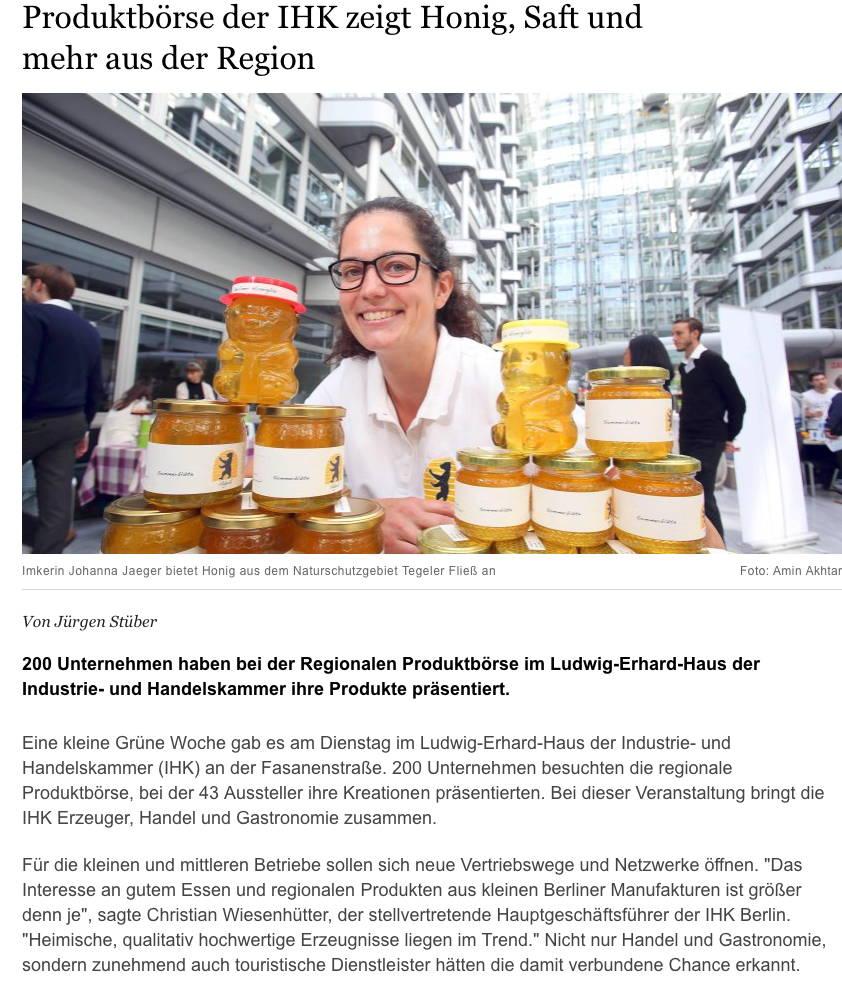 Artikel in der Berliner Morgenpost über unseren Stand auf der Produktenbörse der IHK