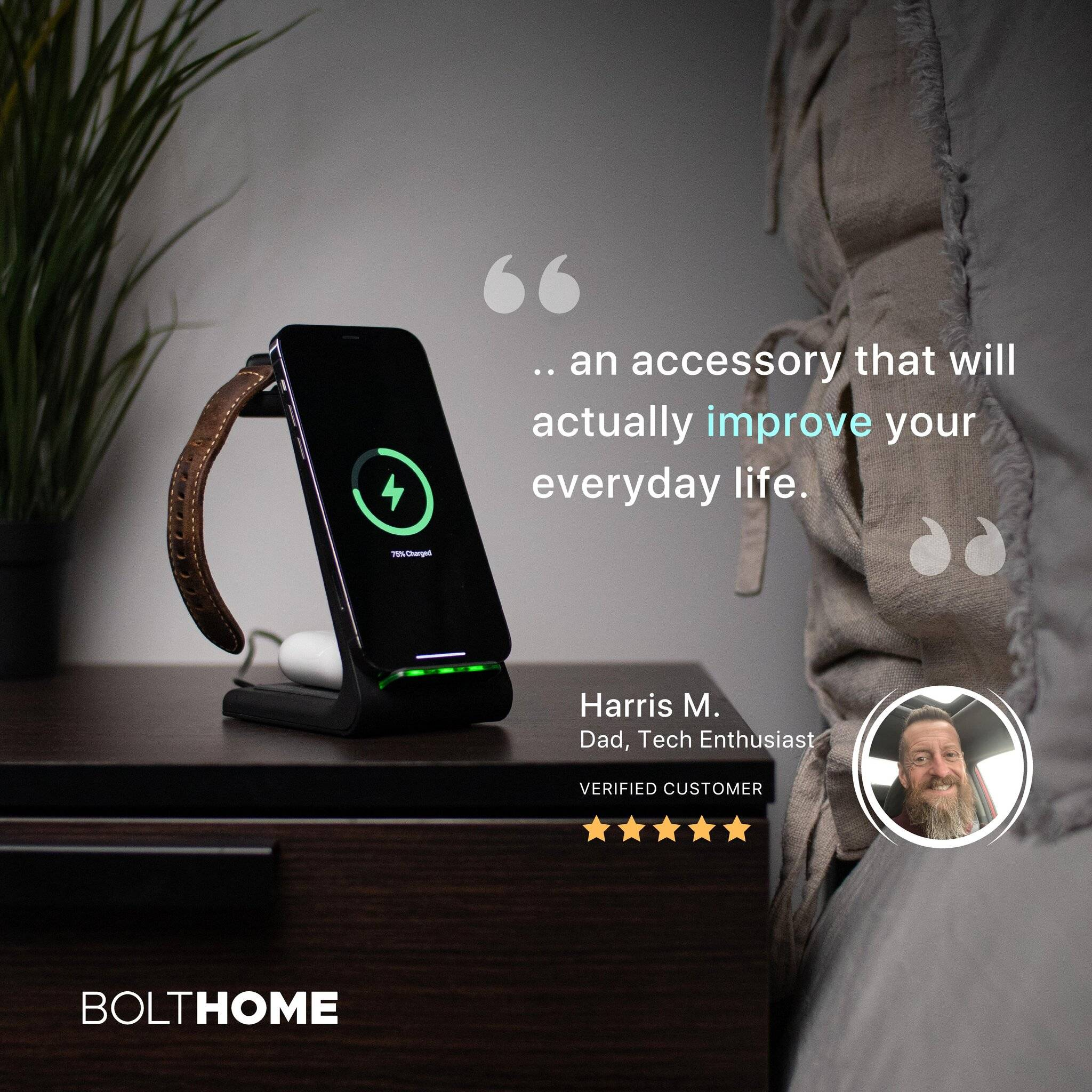 bolthome on bedside nightstand with customer review