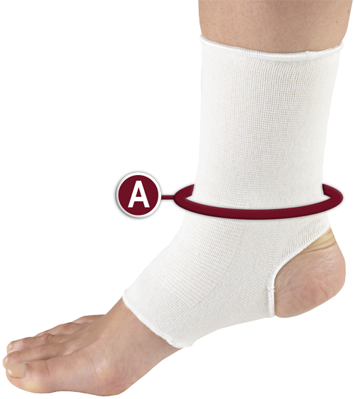 PULLOVER ELASTIC ANKLE SUPPORT MEASURING LOCATION