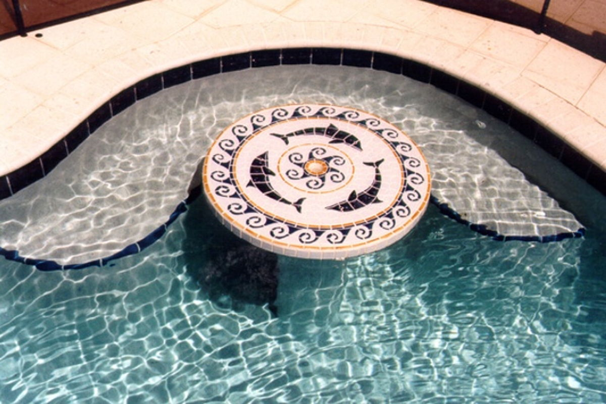 MDOMCOOL - Dolphin Medallion Pool Mosaic