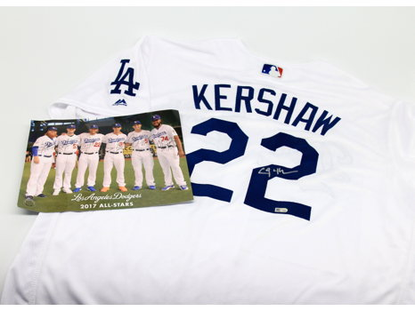 Clayton Kershaw Autographed Jersey, 2017 All-Stars signed photo and Four (4) tickets to a LA Dodgers Game