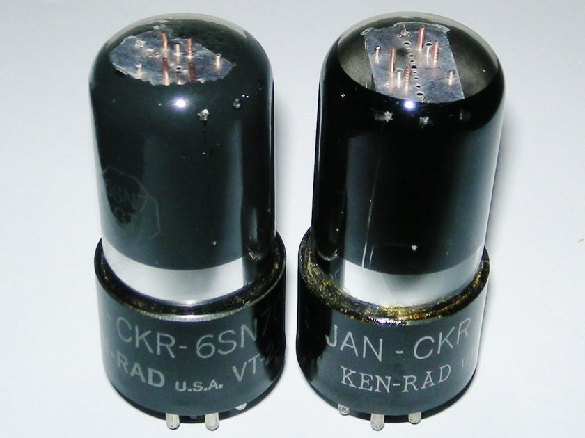 Ken Rad VT231 6SN7 NOS Matched Pair staggered plates