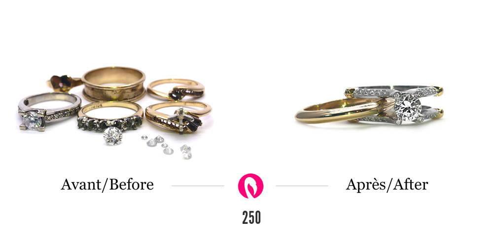 5 bagues en or jaune ou or blanc avec diamants transformés en une bague de fiançailles avec pavé de diamants, un gros diamant et une alliance en orjaune