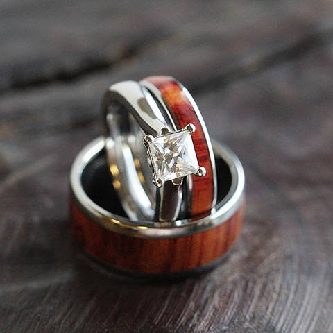 tulipwood wedding ring set moissanite engagement ring