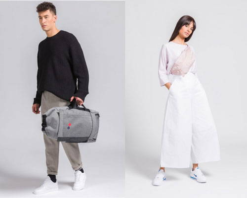 Man carrying pinqponq sustainable rucksack and holdall in grey and woman wearing rose pink sustainable bumbag