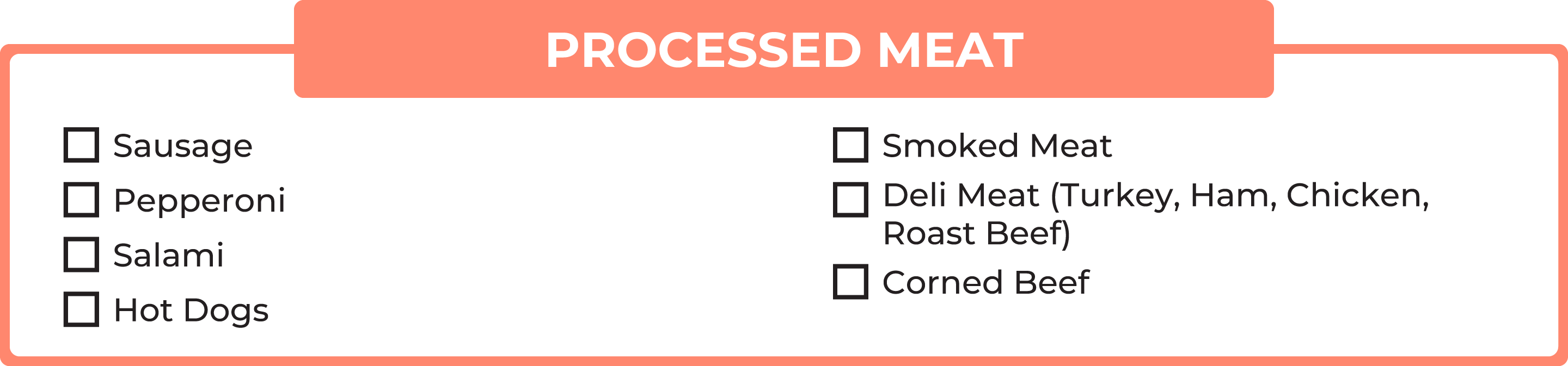 No carb foods: Processed meat