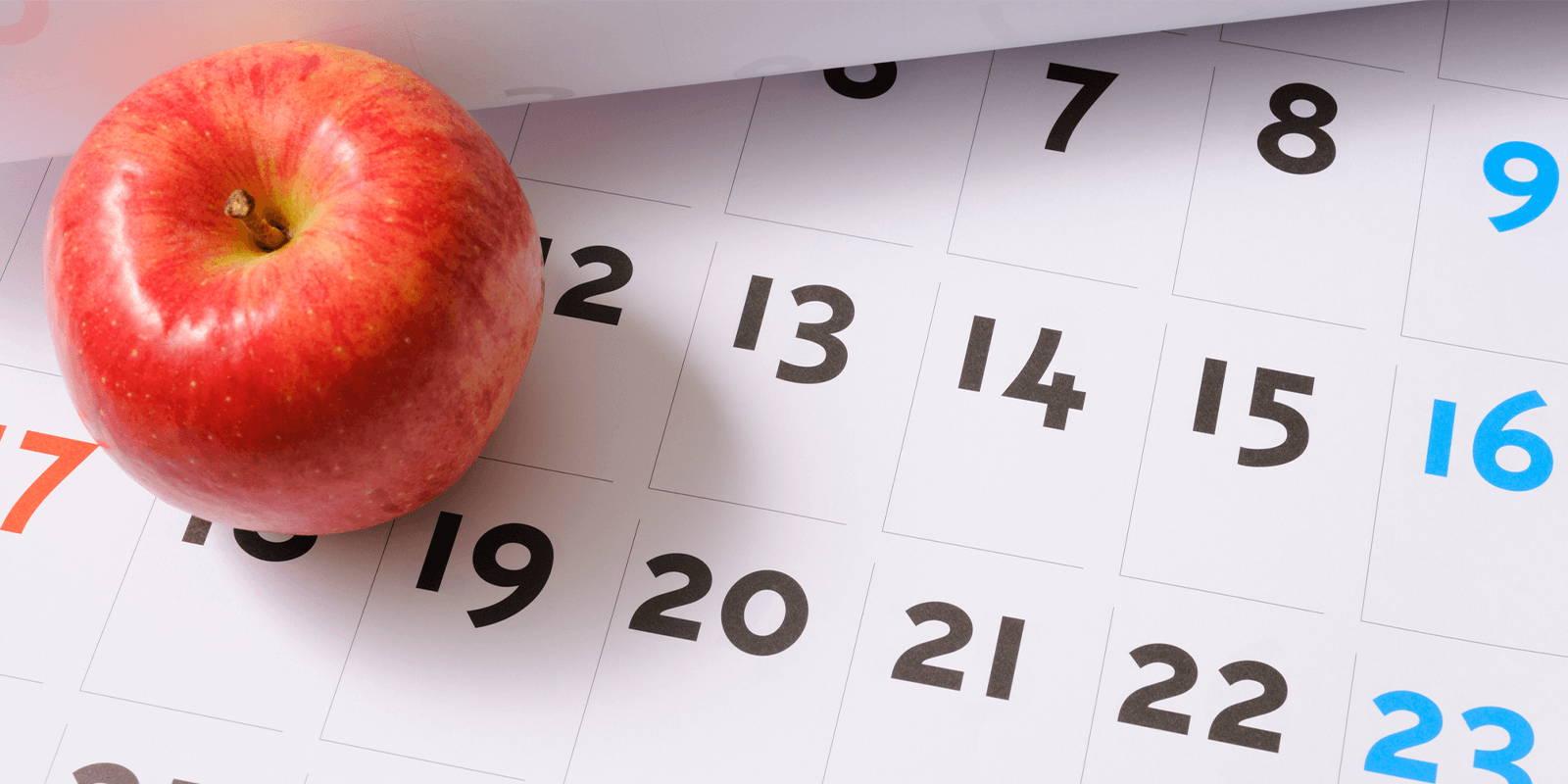 Apple on a calendar.