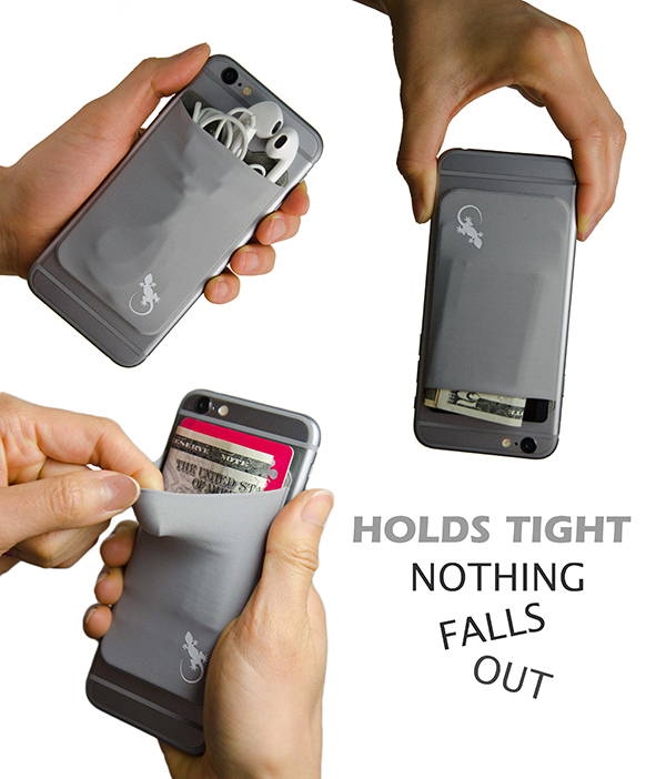 Adhesive Phone Wallet by Gecko hold credit cards, cash and earphones.