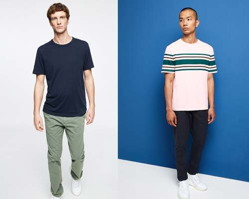 Man wearing olive green organic cotton chino with navy organic cotton tee and man wearing navy organic chinos and pink striped organic cotton T-Shirt