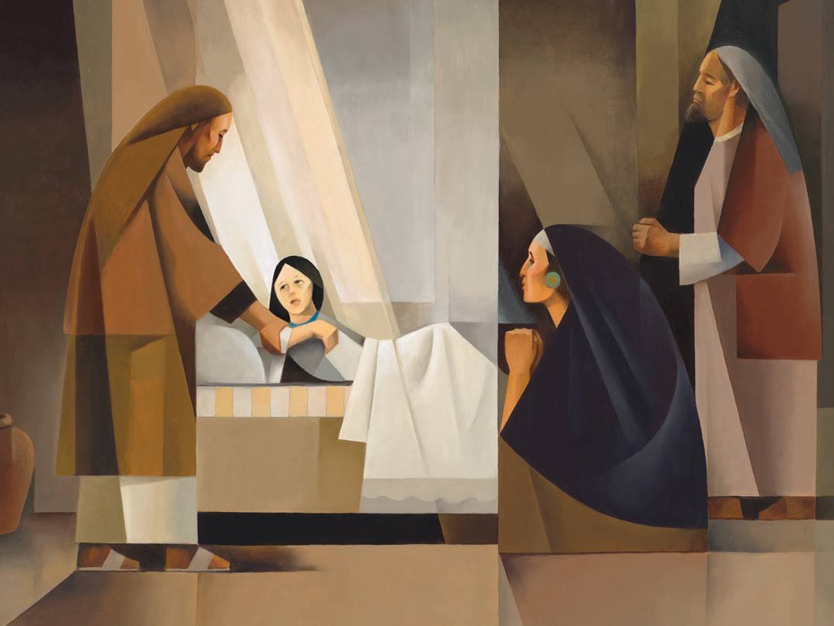 Sacrocubism art painting of Jesus healing the daughter of Jairus.