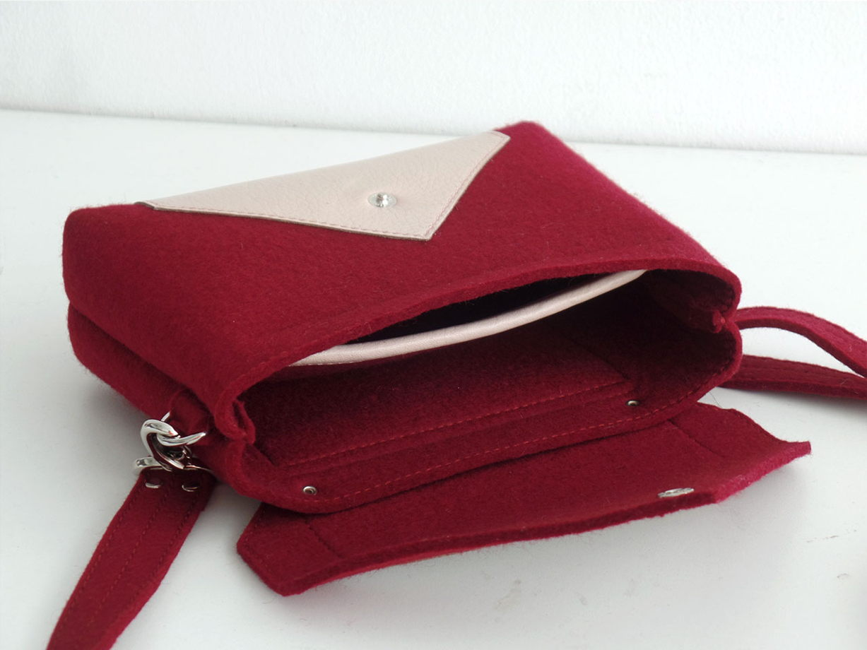Винная сумка через плечо из фетра и кожи