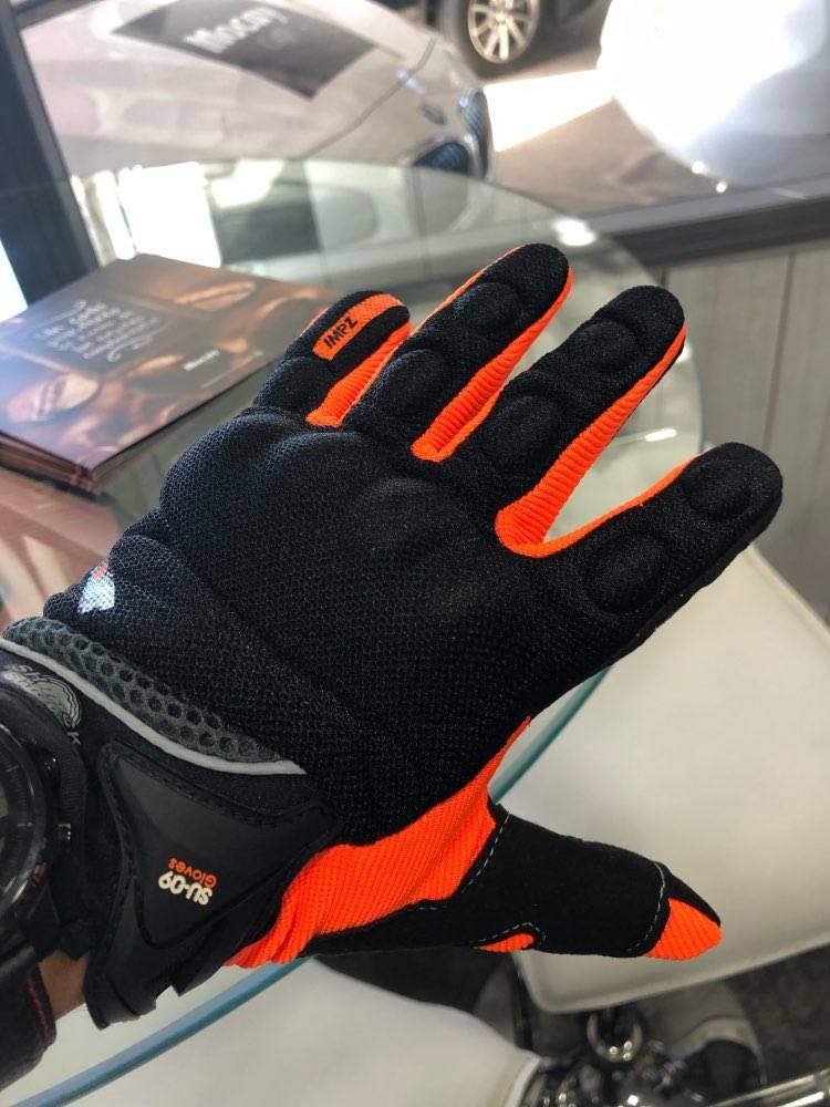gants trottinette coque securite orange