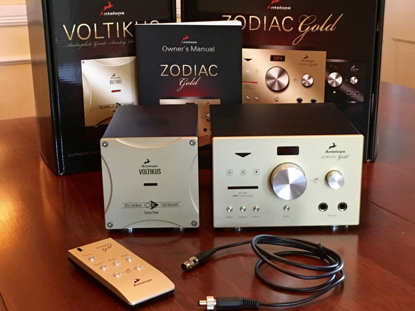 Antelope Audio Zodiac Gold 384kHz DAC + Voltikus Power Supply - Remote, Manuals, Box, Accessories