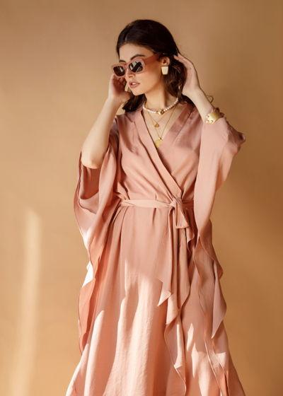 """Платье на запах в цвете """"пыльная роза"""""""