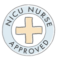 NICU Nurse Approved seal of approval image blue and yellow circle