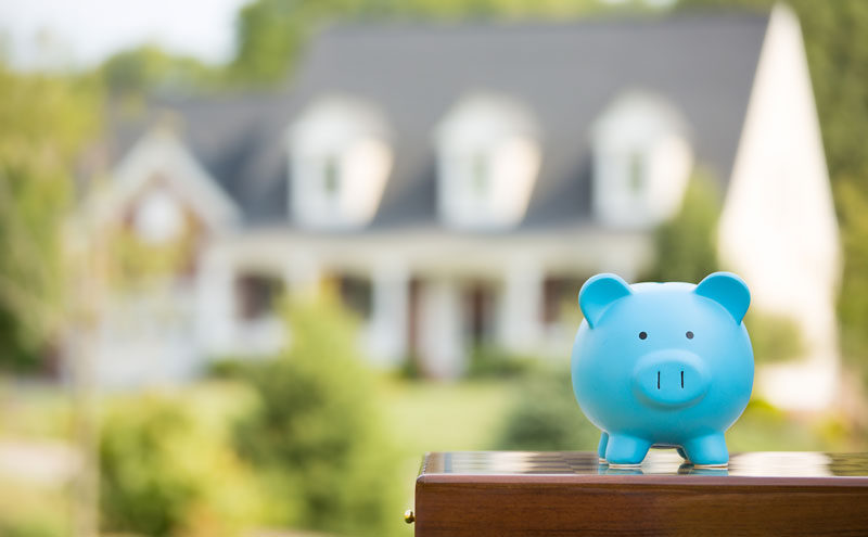 a little piggy bank laughs evilly in front of the house he is about to burn down