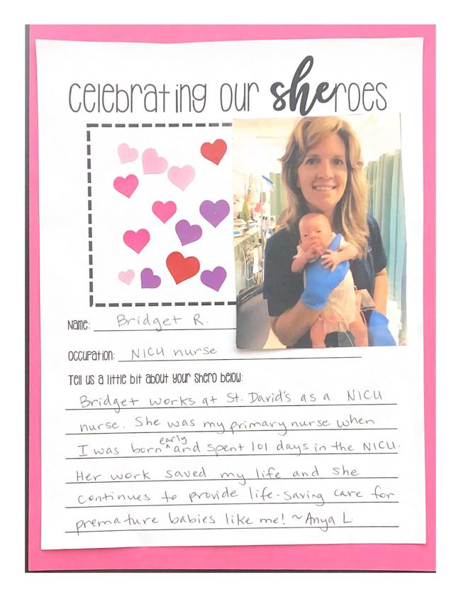 SHEroe, Bridget R., NICU Nurse at St. David's Hospital in Austin cared for our Primrose baby for 101 days
