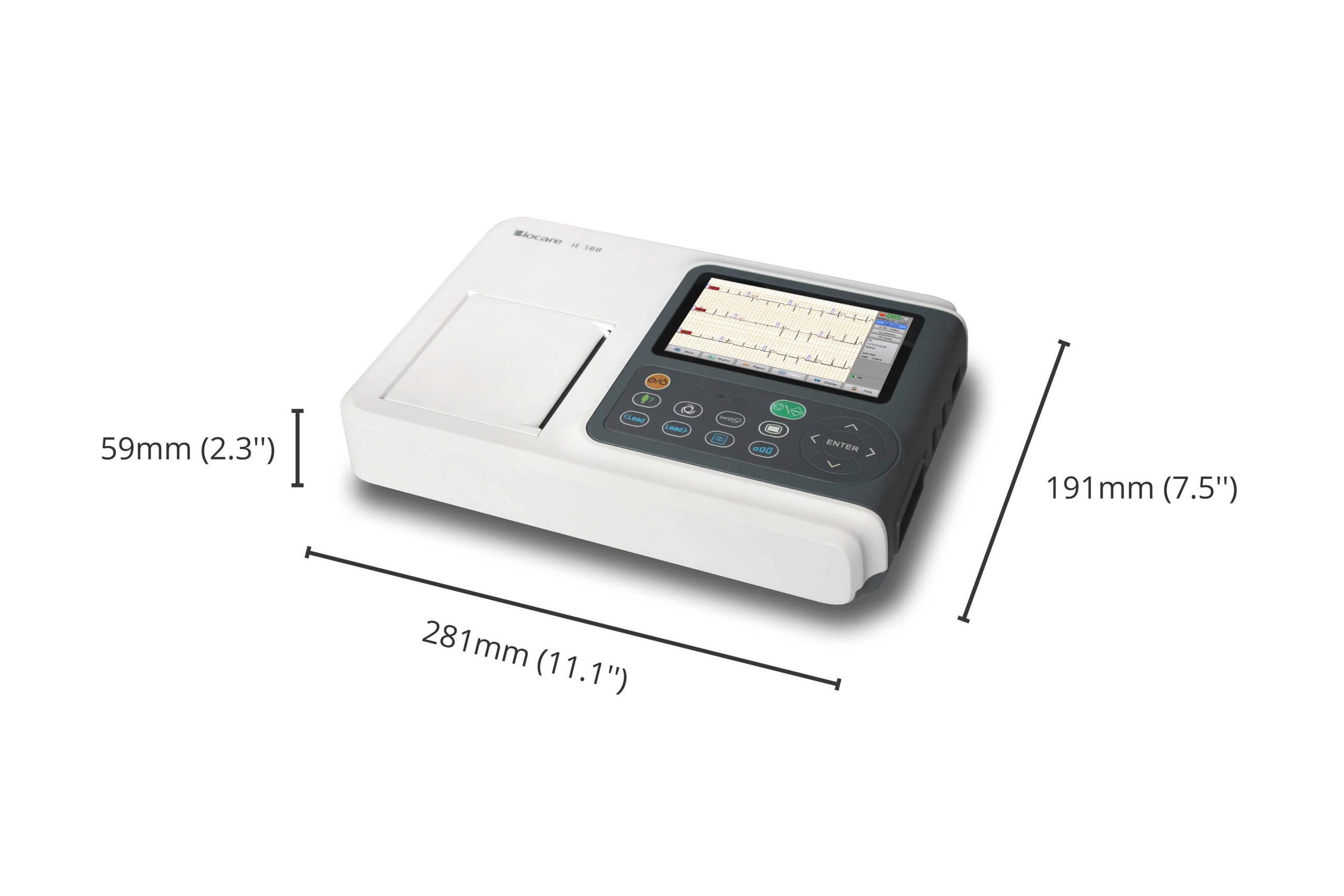 مواصفات حجم جهاز Wellue Biocare ECG ، الطول: 281 مم ، الارتفاع: 59 مم ، العرض: 191 مم.