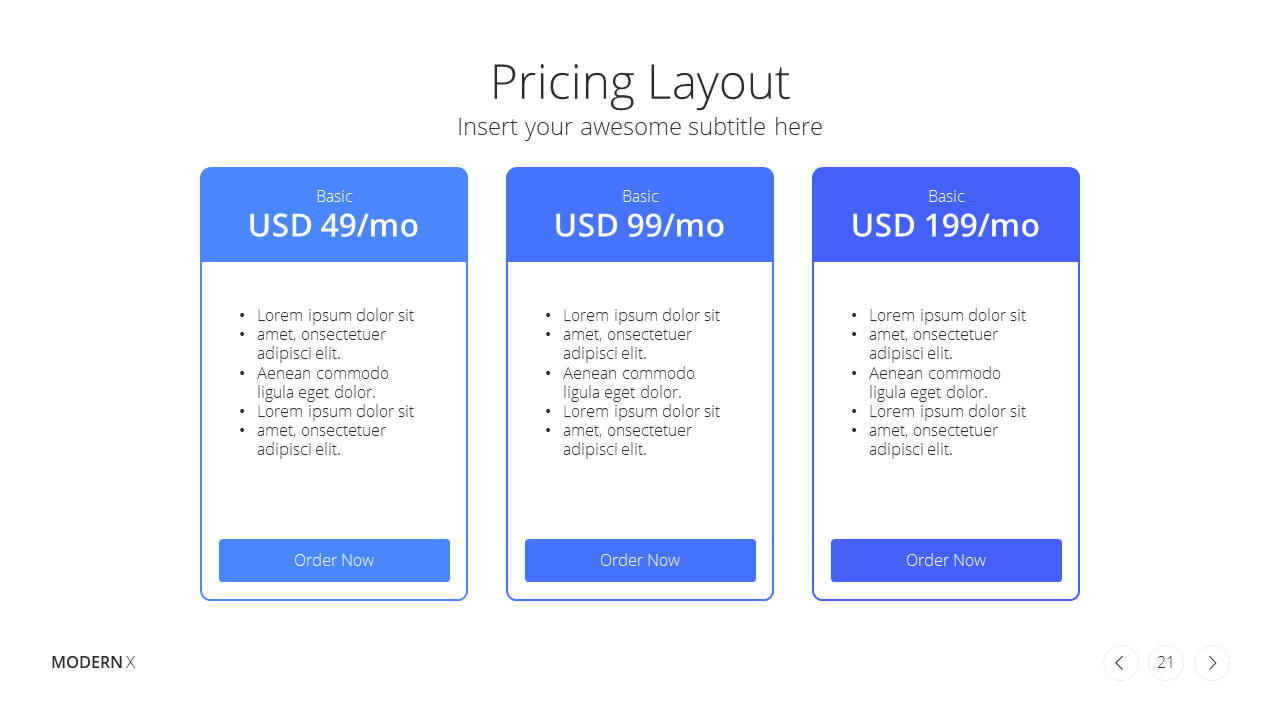 Modern X App/Software Showcase Presentation Template Pricing