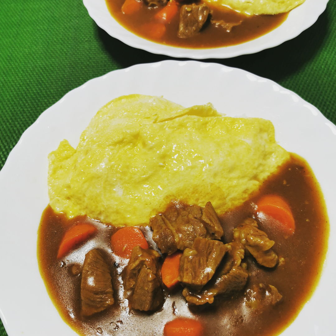Japanese Curry wiith Beef and Omu Rice
