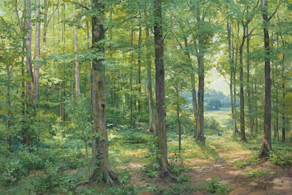 A painting of the trees in the Sacred Grove. In the distance, a small figure represents Joseph Smith praying.