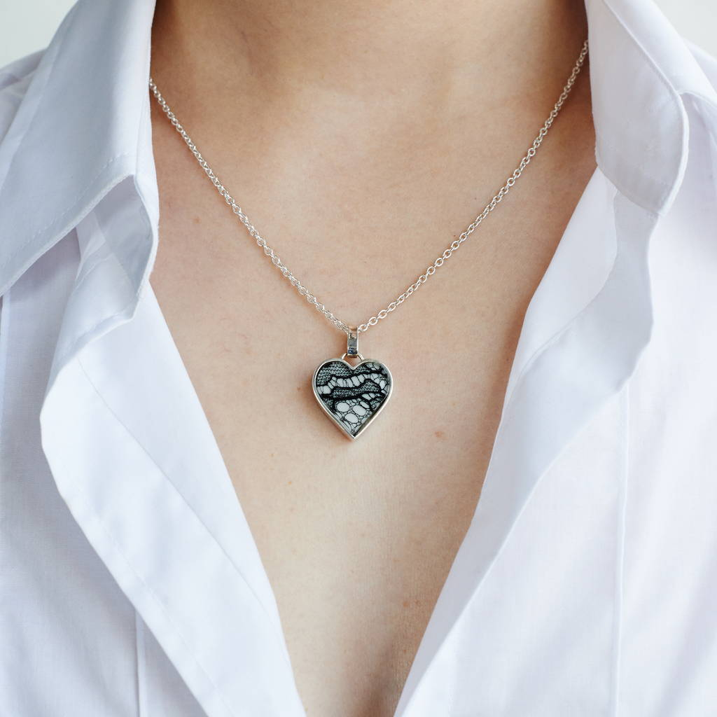 Small lver heart necklace on silver chain as worn - Lily Gardner London