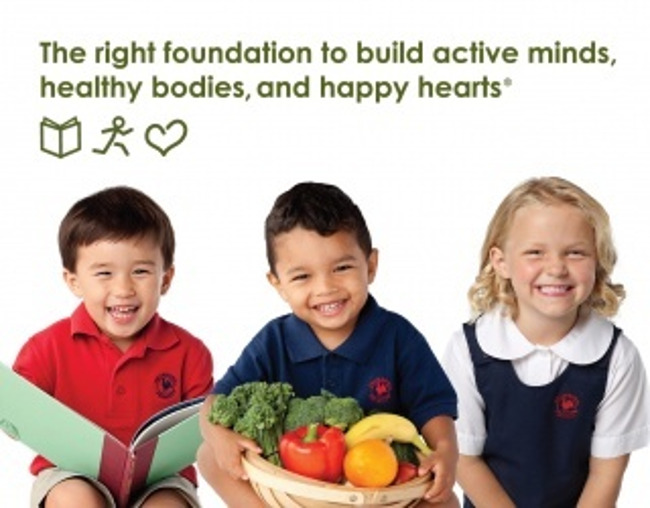 The image and photo is of children eating healthy foods.