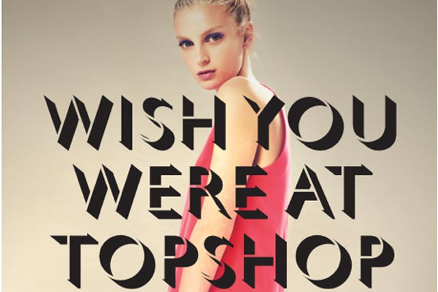"An email saying ""Wish You Were at Topshop"""