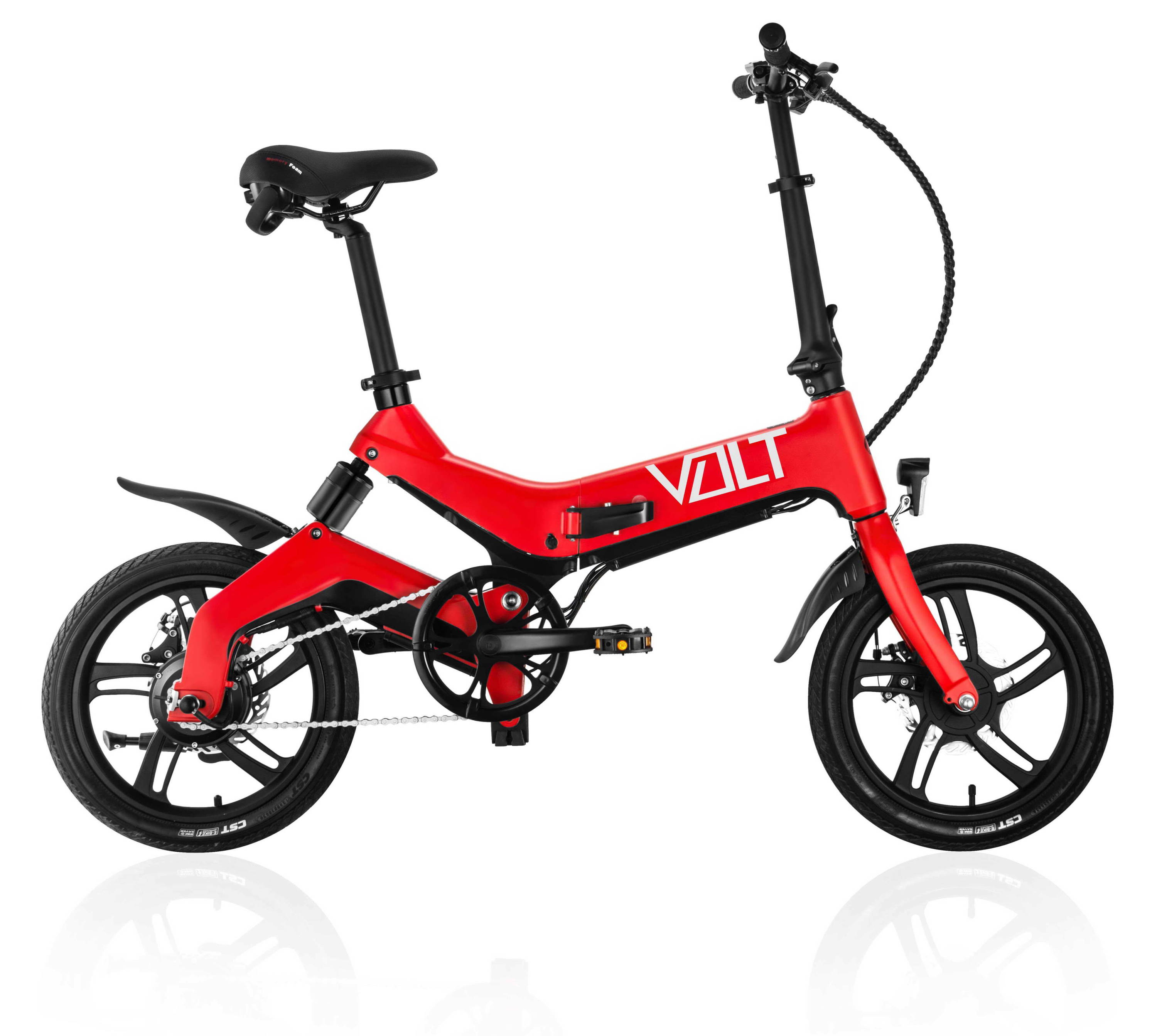 VOLT ebike in candy red colour. VOLT Mate electric bike, VOLT Mate pedalec. VOLT offers the best electric bikes for sale in Australia. The VOLT Mate has memory foam seat paddings and adjustable supports for the best bicycle riding experience. The VOLT electric cycle is equipped with specially designed mud guards or mud flaps to defend the bike frame against damage. Another reason why the Australian VOLT ebikes are the best electric bike makers in the world.