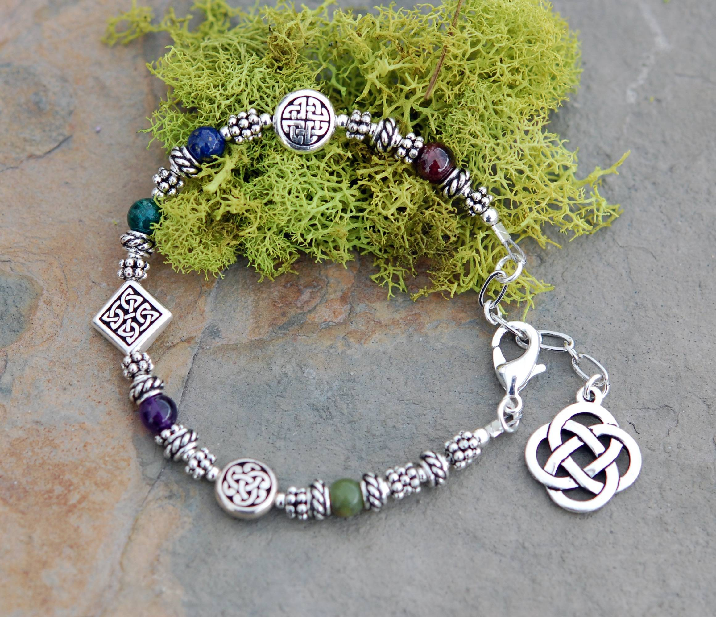 The Celtic Jewelry Studio Sacred numbers Celtic Bracelet with Adjustable Chain Clasp Celtic Festival Online