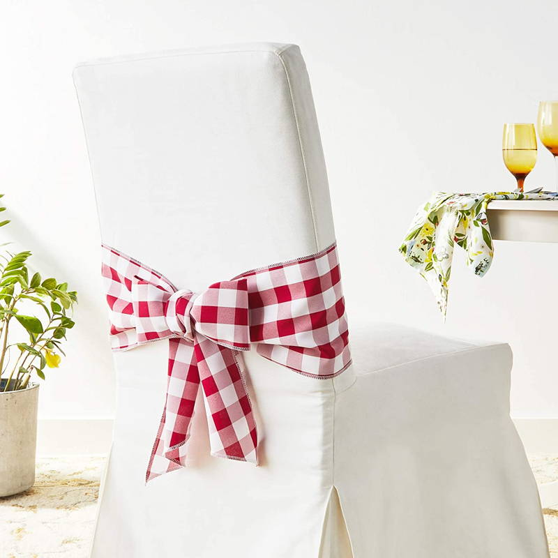 LA Linen Checkered Chair Bow, Red and White, Chair Cover, Home Decor, Interior