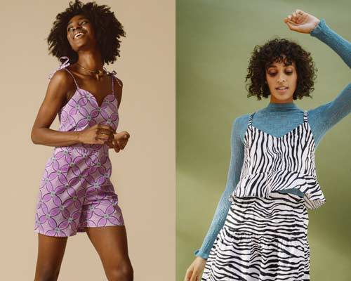 Woman wearing pink patterned playsuit and woman wearing zebra print cami top from sustainable womenswear brand Mayamiko