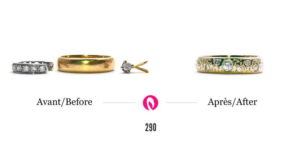 Transformation d'une bague en or jaune avec des boucles d'oreilles en or blanc et diamants en un jonc en or jaune avec petits diamants incrustés