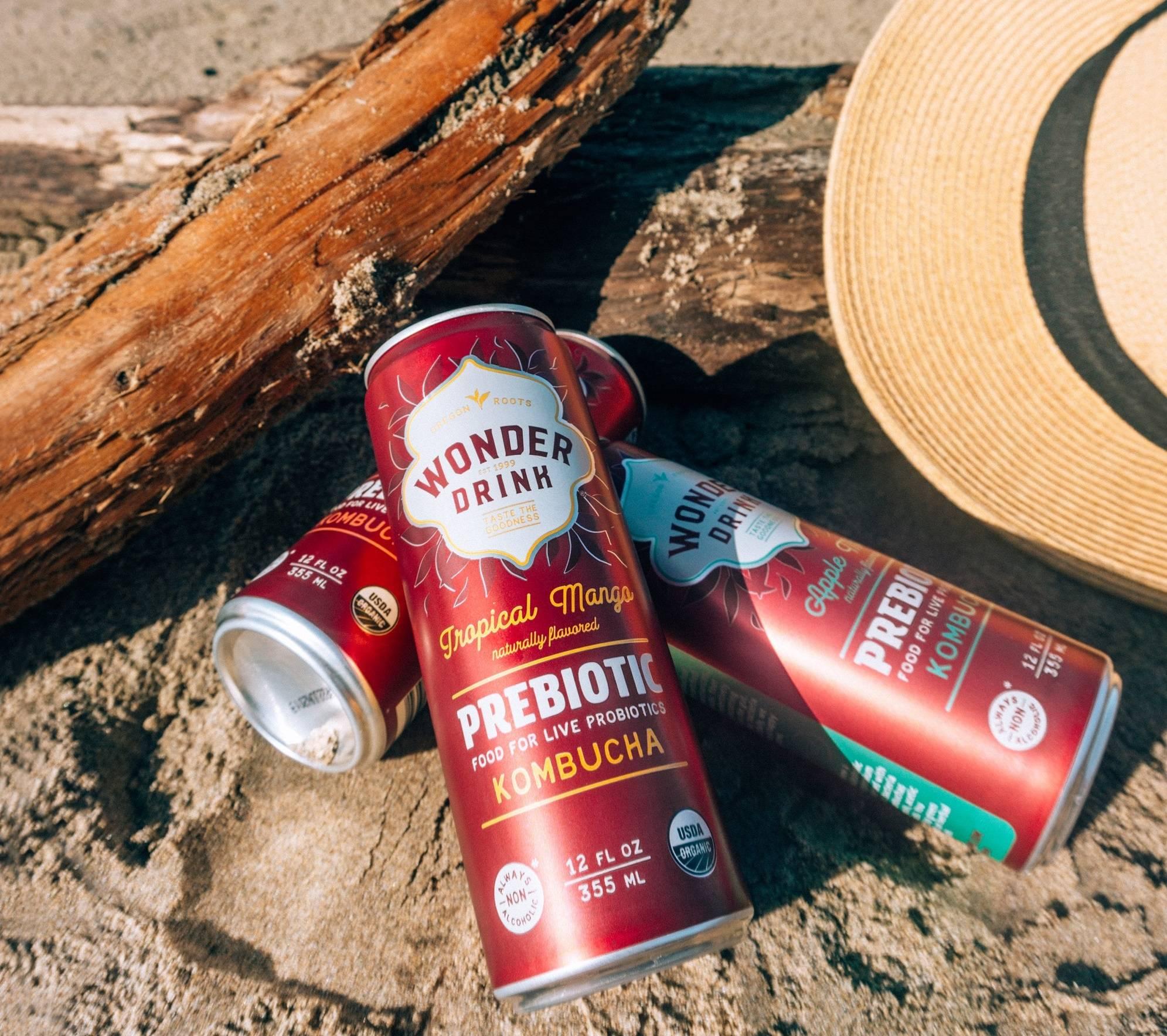 Wonder Drink Prebiotic Kombucha on Beach