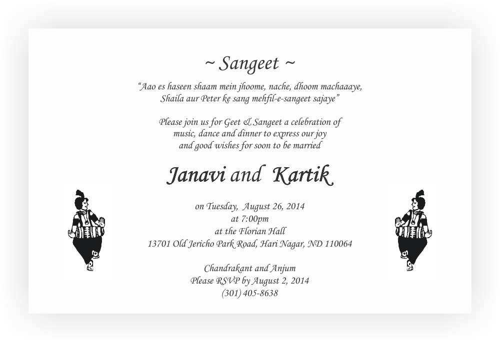 Sangeet Ceremony Invitation Wordings CHOCOCRAFT