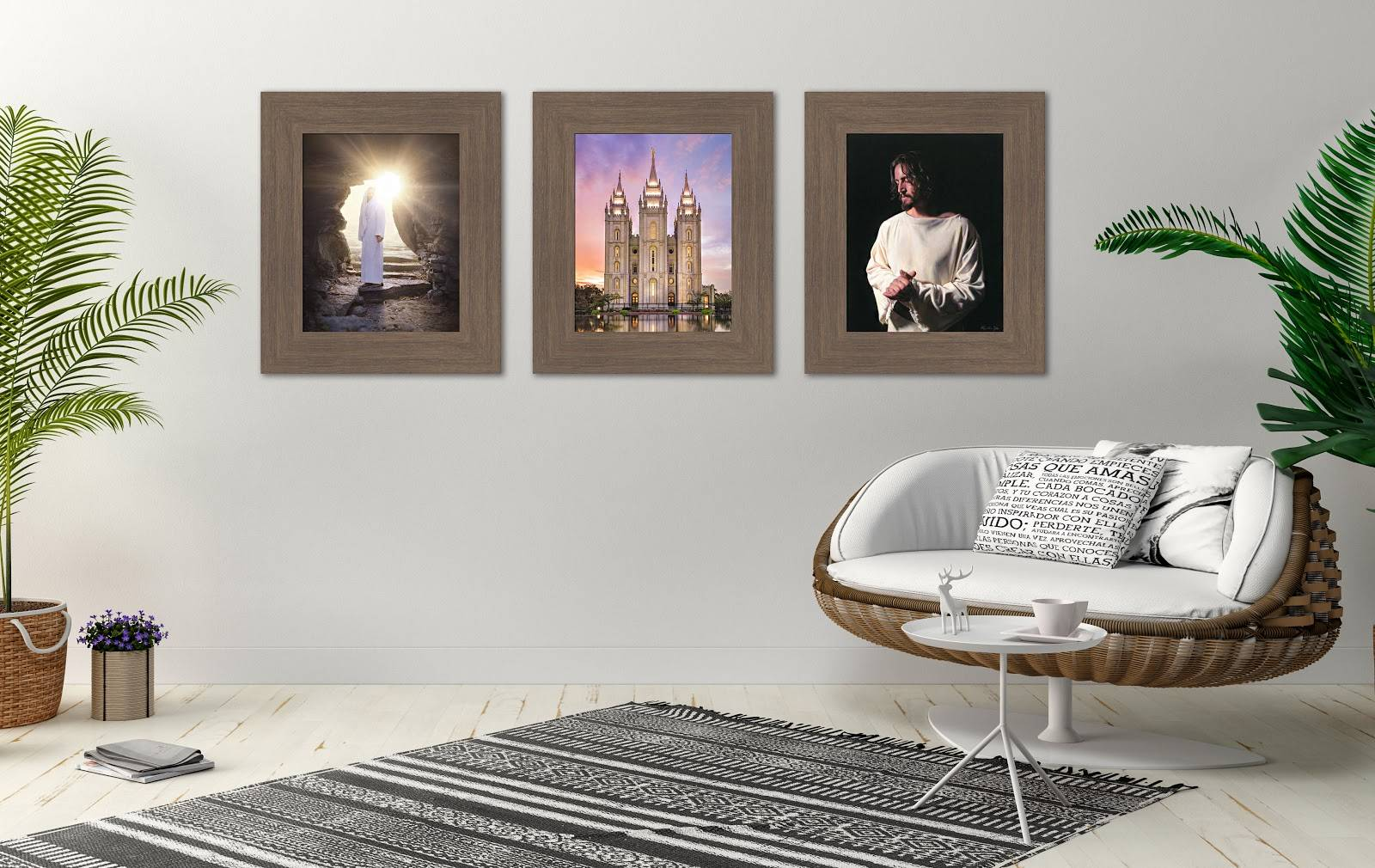 Environment shot of three LDS paintings displayed in a horizontal pattern.