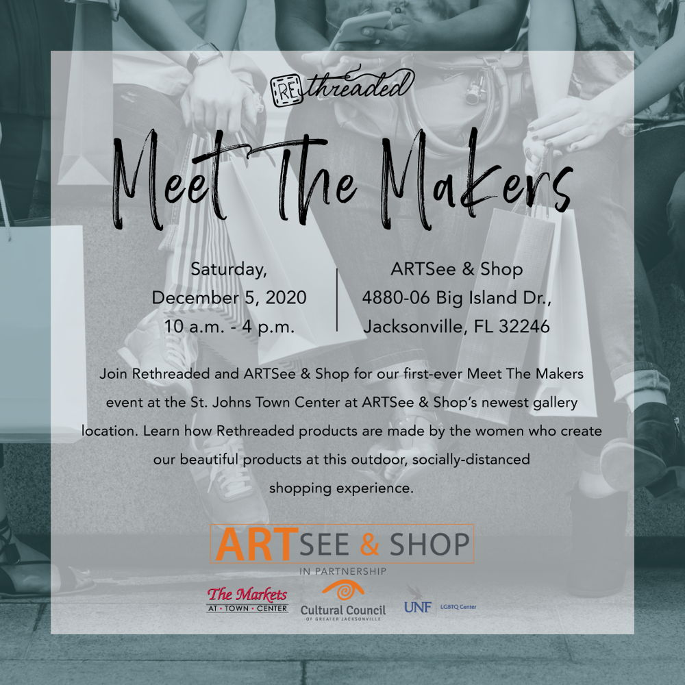 Picture of Join Rethreaded and ARTSee & Shop for our first-ever Meet The Makers event at the St. Johns Town Center at ARTSee & Shops newest gallery location