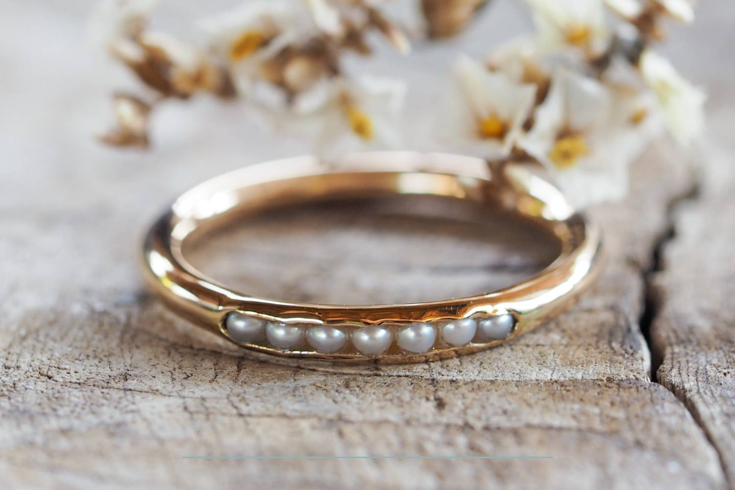 Ethical gold pearl ring