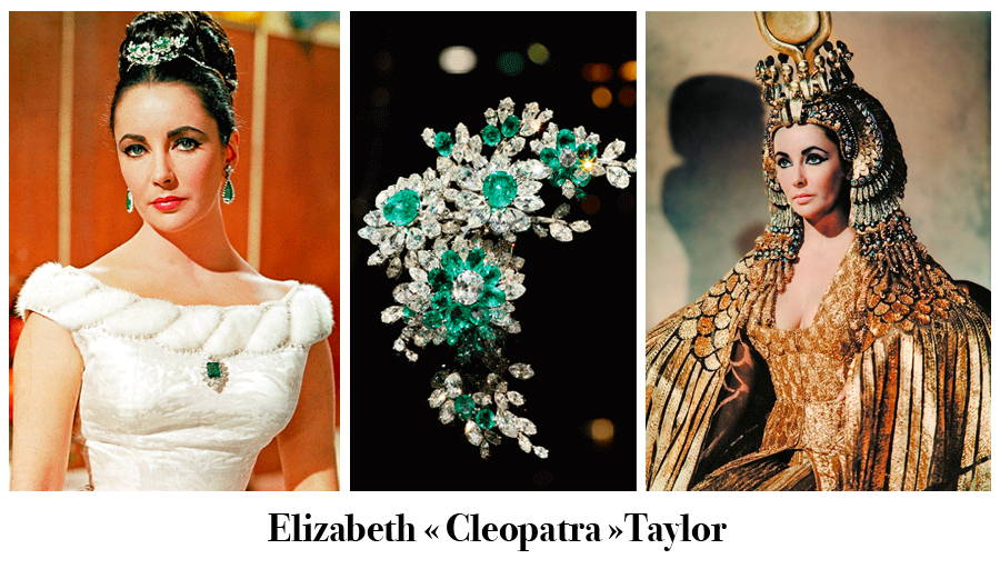 Three-picture picture with the American actress Elizabeth Taylor adorned with emerald jewels, the close-up hair jewel and a scene from the film Cleopatra by Joseph L. Mankiewicz.