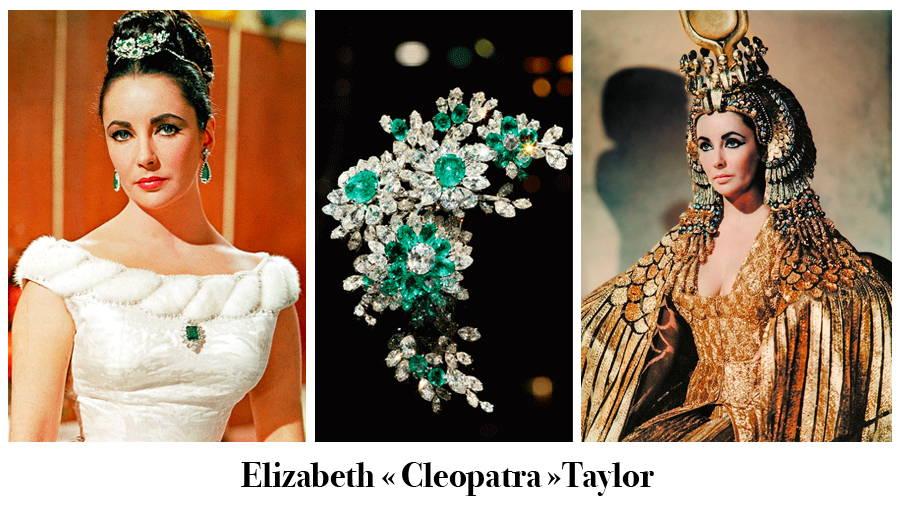 Image à trois tableaux avec l'actrice américaine Elizabeth Taylor parée de bijoux d'émeraude, le bijou de coiffure rapproché et une scène du film Cleopatra de Joseph L. Mankiewicz.