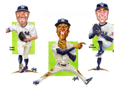 Collection of Three (3) Separate, Original Autographed Caricature Pieces, one of each featuring Didi Gregorius, David Robertson, and Tommy Kahnle