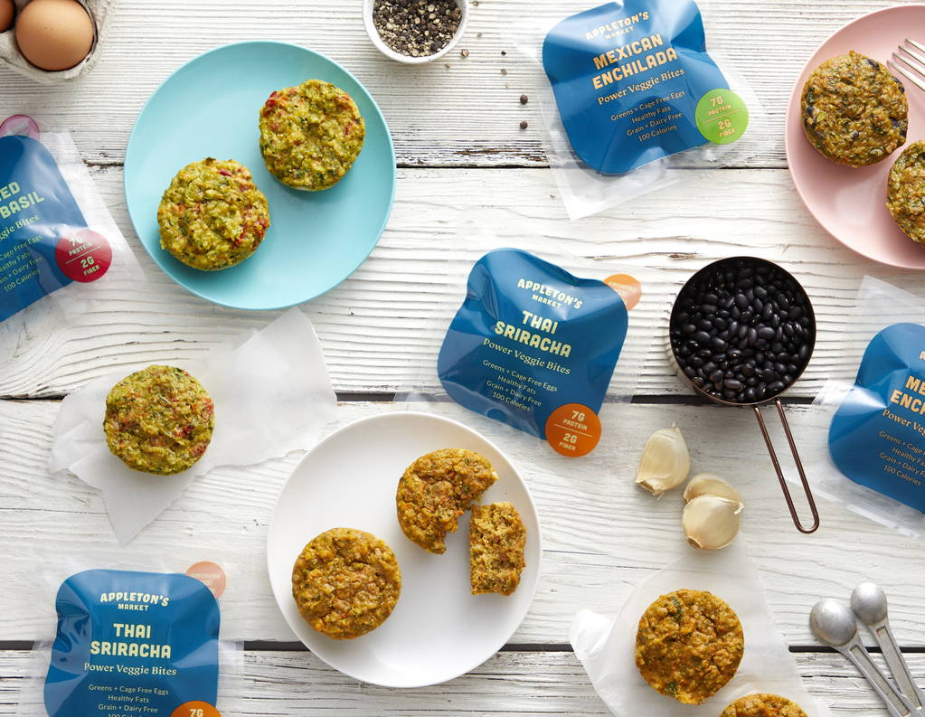 Delicious collage of Appleton's Market power veggie bites with ingredients like black beans farm fresh eggs, fresh garlic, kale, chard, broccoli, vegetables, quinoa