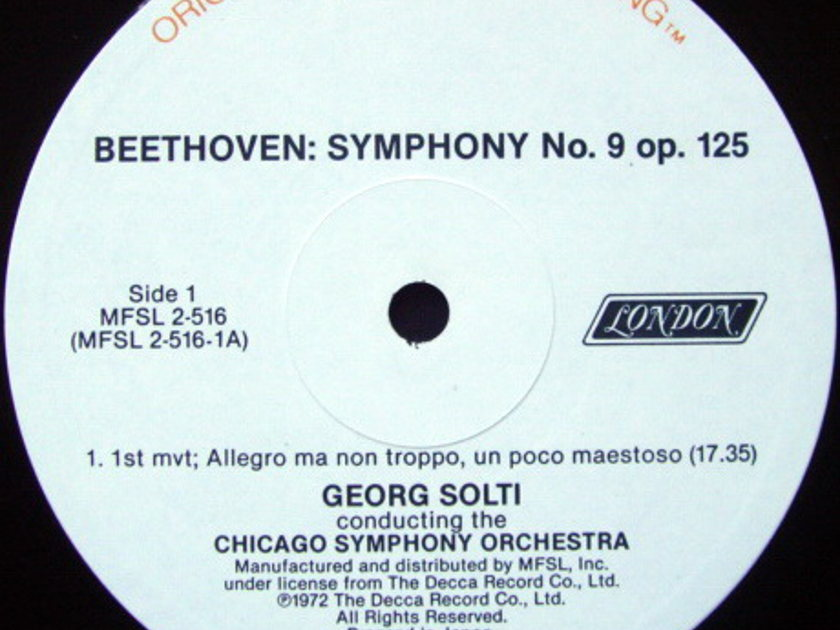 ★Audiophile★ MFSL / SOLTI, - Beethoven Symphony No.9 Chorale, NM, 2 LP Set!