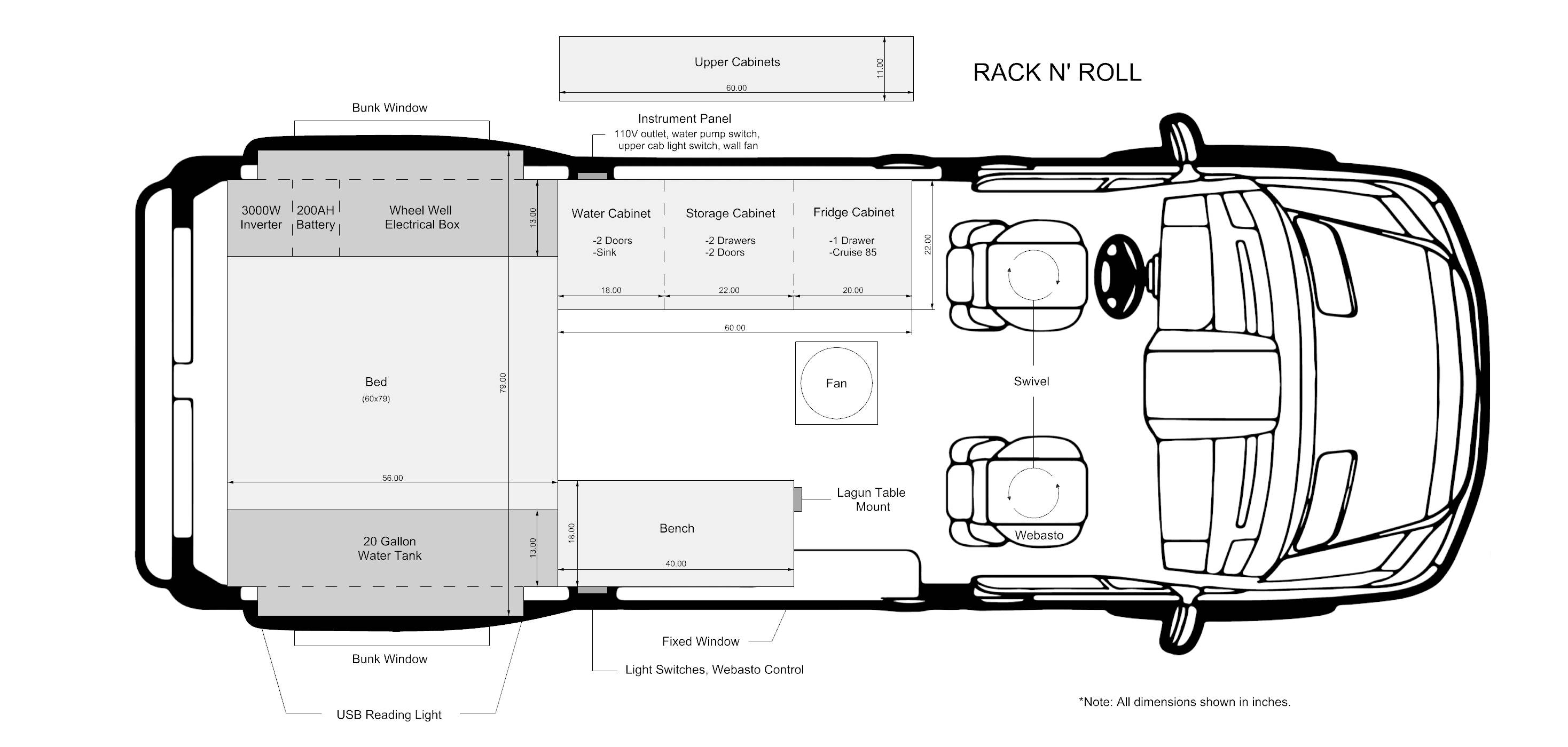 Rack & Roll - Sprinter 144 Conversion Layout and Floor Plan - The Vansmith