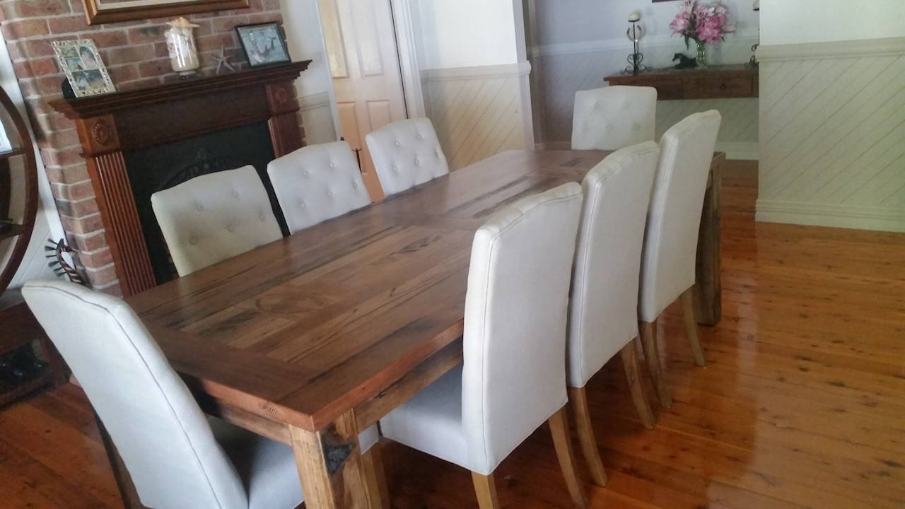 recycled hardwood timber dining table