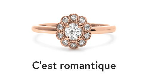 Rose gold halo type engagement ring