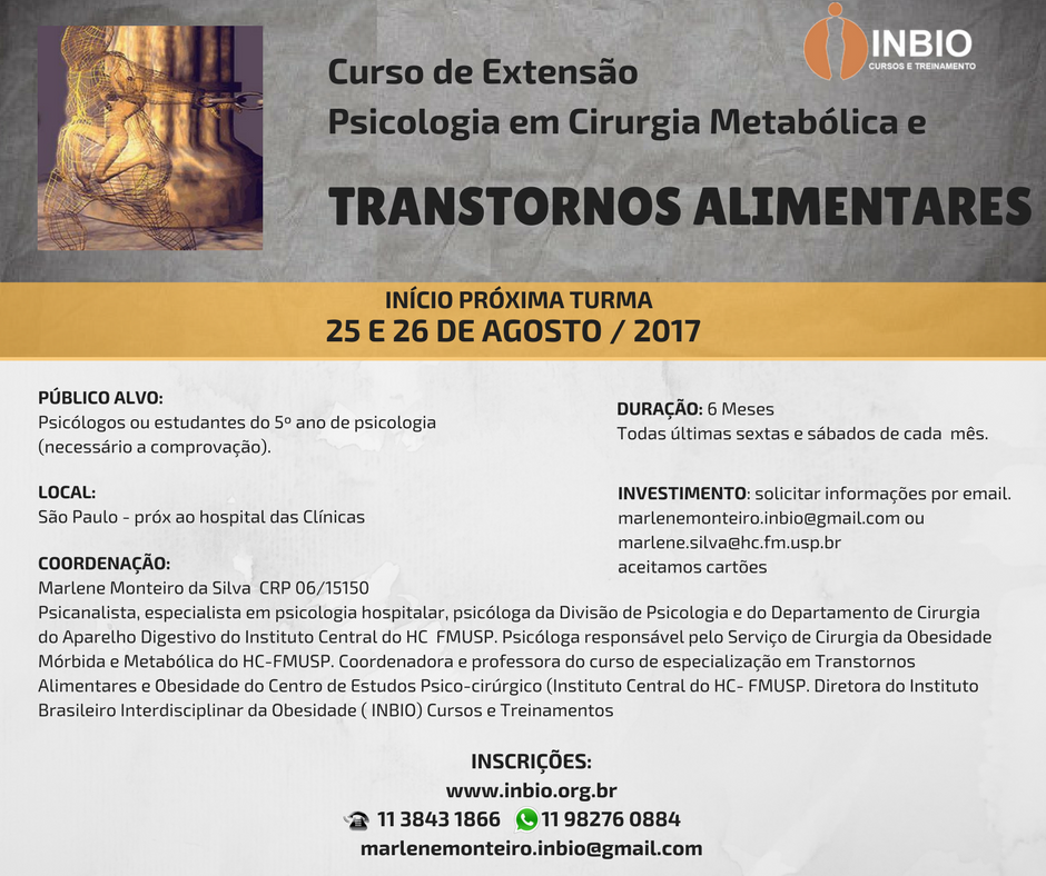 CURSO ATUAÇÃO PSICOLÓGICA EM CIRURGIA BARIÁTRICA e METABÓLICA E NOS TRANSTORNOS ALIMENTARES