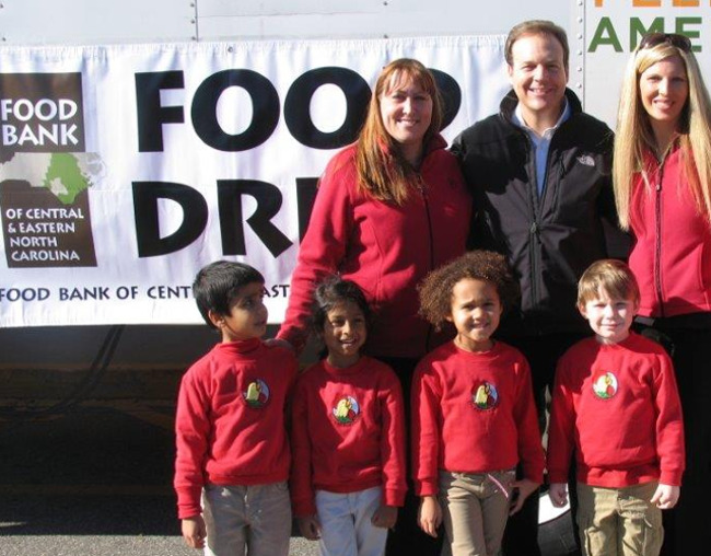 Primrose teachers and students at the food drive