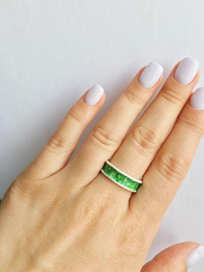 Кольцо серебряное «Июнь» с горячей эмалью